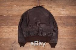 Mens Vintage Schott USA A2 Brown Lined Leather Flight Jacket Medium 42 R6445