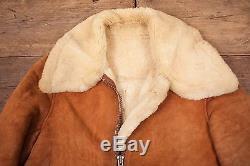 Mens Vintage Sheepskin Shearling Leather B3 Fur Lined Jacket Brown M 40 R4559