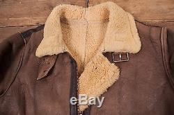 Mens Vintage Sheepskin Shearling Leather B3 Fur Lined Jacket Brown M 42 R4545