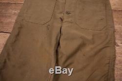 Mens Vintage USN 40s WW2 Green Lined Deck Pants Bib Overalls Talon Small XR 9788