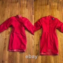 Michael Hoban North Beach Leather Womens Raspberry/ Red dress Vintage P