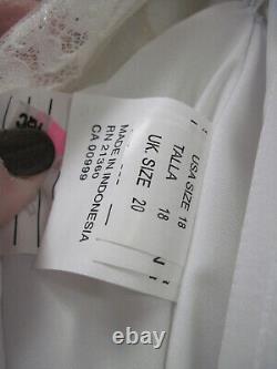 Mori Lee White Wedding Dress Country Vintage Lace Illusion Satin Tie V Back Sz18