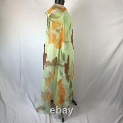 Mr. Blackwell Design Vintage Green BOHO Flowy Chiffon Maxi Dress