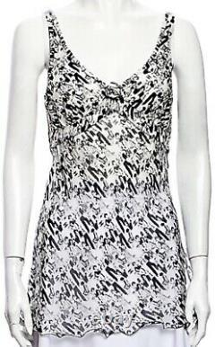 NEW CHANEL Vintage 2003 Logo CC Print Mini DRESS Coverup 34 36 2 4 6 blouse Top