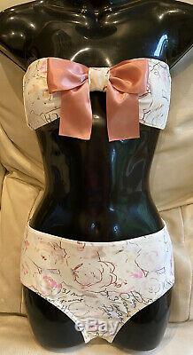 NEW Chanel 98p Vintage Bikini 2pc Top Swim 36 38 40 4 6 8 Bottom dress SwimSuit