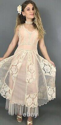 NEW Nataya Pink Dress M Vintage Inspired Bohemian A line lace Formal 40250 NWT