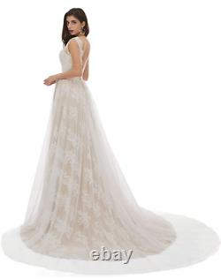 NEW UNWORN Vintage Ivory Wedding Dress US Size 10, V-neck A-Line