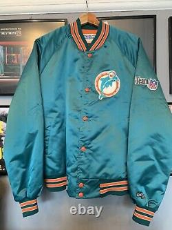 NFL Miami Dolphins Vintage Chalk Line Satin Jacket Coat Mens Size L Large