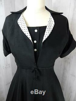 NOS 1950s Vintage Black Linen 2PC DAY DRESS Polka Dot A-line Crinoline UNWORN M