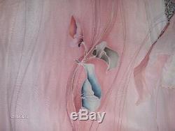 NWT $785 Yolanda vintage peach hand painted silk dress, bell sleeve, lined Sz L