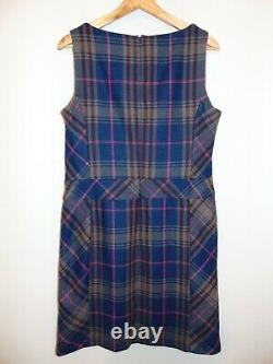 NWT Laura Ashley Grey/Blue Wool Blend Pinafore Shift Winter Dress, UK 12