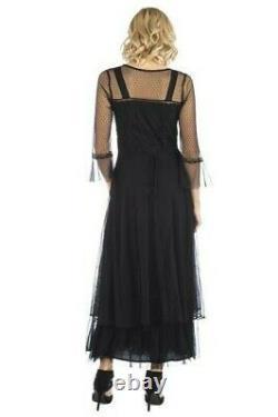 Nataya Celine Vintage Style Dress Edwardian/Victorian Gown Black S $290 CL-068