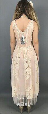Nataya Pink Dress M Vintage Inspired Bohemian A line lace Formal 40250