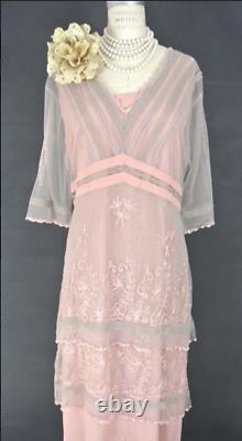 Nataya Pink Titanic Downton Abbey Dress 2X Formal Lace Victorian VTG 5901 NWT