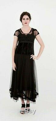 Nataya Vtg Style Victorian Empire Dress/Gown Black Velvet/Tulle/Cotton M $198