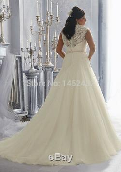 New Fashion Elegant Beaded Sash A Line Vintage Lace Plus Size Wedding Dress