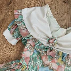 Nicola Anne VTG Dress XS UK 8 Midi Floral Ivory Multi 80s Prairie Cottagecore