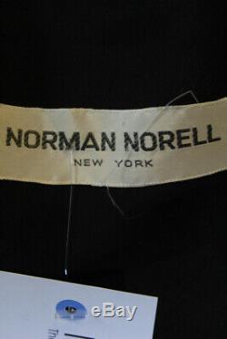 Norman Norell Womens Vintage Long Sleeve Pleated A-Line Dress Black Size 10