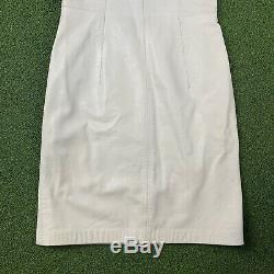North Beach Leather Michael Hoban Vintage 80's White Genuine Leather Dress 7/8