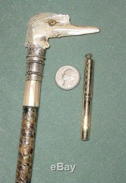OLD MOP BIRD HEAD STERLING 925 LINED CANE GADGET WALKING STICK with FOUNTAIN PEN