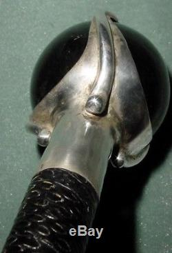 Old Stunning Obsidian Stone Rotating Ball Silver Collar Lined Cane Walking Stick
