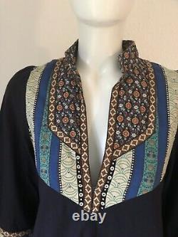 Original Vintage Jake London Boho Hippy Dress Caftan A Line Cotton Sz S M