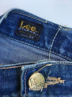Original Vintage distressed 60's Lee Rider Red line Jeans 34x32 Levis 501 Big E