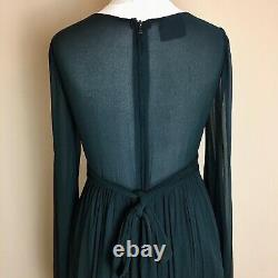 Original early 1970s BIBA Vintage empire line maxi dress In moss green, Size 8