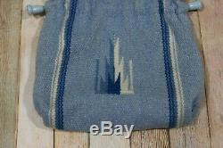 Ortegas Chimayo New Mexico Drawstring Purse 100% Wool Handwoven Blue Lined FLAW