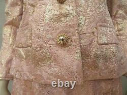 Oscar De La Renta Size 6 S Dress Suit Skirt Jacket Blazer Coat Jacquard Vintage