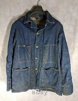 Oshkosh B'Gosh Vintage 1930s Blanket Lined Engineer Chore Denim Jacket