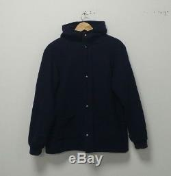 Our Legacy Navy Wool Blend Fleece Lined Hooded Jacket/ Coat Oi Polloi M/L