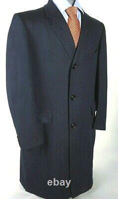 Oxxford Vintage 60s Men's Navy Wool Overcoat Top Coat Long Winter Jacket 40 42