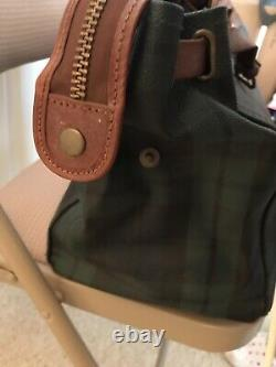 POLO By Ralph Lauren PLAID heavy cloth LEATHER/PVC BAG Blackwatch Briefcase vtg