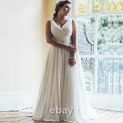 Plus Size Ivory/white Wedding Dress Bridal Gowns Beach A-line Sleeveless Chiffon