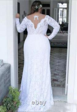 Plus Size Wedding Dress Bridal Gown V Neck Long Sleeves Lace A Line Custom Size