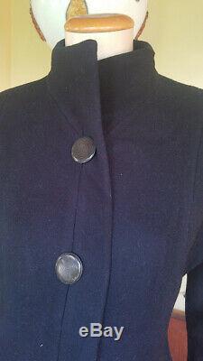 Princess Fit N Flare Black 100% Wool A line Structured VTG 70s Dress Coat S