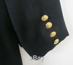 RALPH LAUREN Sz LG Navy Wool Dress Coat Military Double Breasted USA Vtg