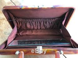 RARE Vintage 1950's Koret Faux Tortoise Shell Lucite Handbag Purse Silk Lined