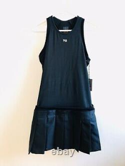 RARE Vintage Y-3 Yohji Yamamoto Womens Black Pleated Racer Tank Dress M NWT