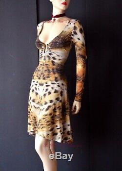 ROBERTO CAVALLI vintage 90s leopard print A line sexy DRESS size UK 12 USA 8 44