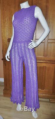 RaRe VTG 70s HAND CROCHET KNIT Lace Hippie Boho Festival Maxi JUMPSUIT Lined