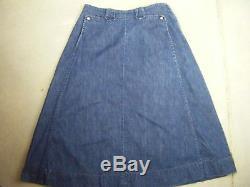 Rare LEVI'S DEMIN FAMILY Vtg 50s Blue Denim A-line Skirt-Waist 31