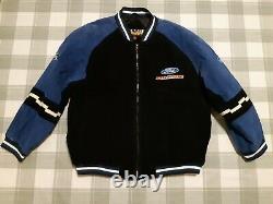 Rare NASCAR Essex Ford Racing Men's Leather Jacket Full Zip Quilt Lined XL Vtg
