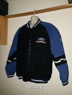 Rare NASCAR Essex Ford Racing Men's Leather Jacket Full Zip Quilt Lined XL Vtg