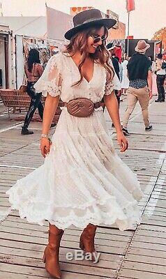 Rare Spell Designs Gypsy Boho Vintage Bridal Dawn Cream Lace Gown Dress Bnwt M