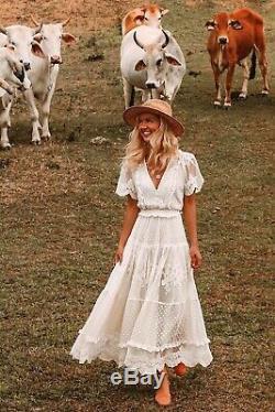 Rare Spell Designs Gypsy Vintage Boho Bride Dawn Cream Lace Gown Dress Bnwt M