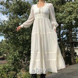 Rare Vintage 70s GUNNE SAX Ivory Prairie Dress