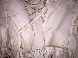 Rare Vintage Chris Lines Original Leather Beaded Fringe Jacket Western 1950's