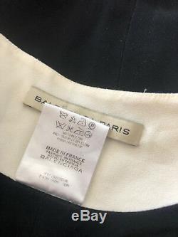 Rare Vintage Couture Balenciaga black white dress stunning line & shape Silk 40